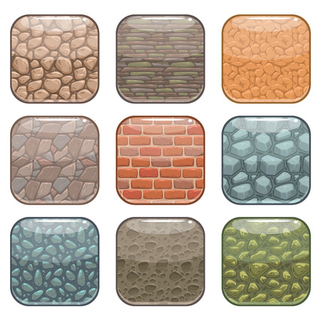 stone tablet: Rounded square app icons, soil background template set, colorful vector ground textures buttons, isolated on white