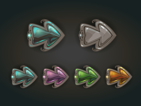 cursor: Cool stone arrows with crystal middles, old medieval war style cursors, gui concept