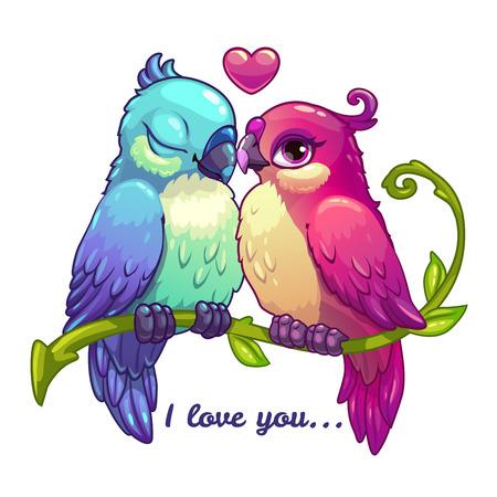 Pares de los pájaros lindos en amor, ilustración vectorial de dibujos animados sobre fondo blanco Foto de archivo - 53557171
