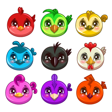 Funny cartoon colorful round birds, vector game assets, isolated on white Illustration