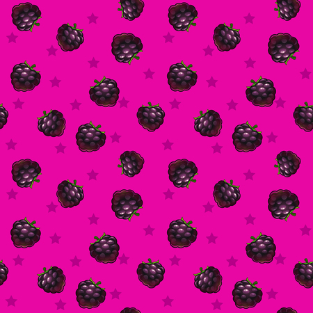 blackberries: Funny bright seamless pattern with blackberries on pink background, vector texture tile