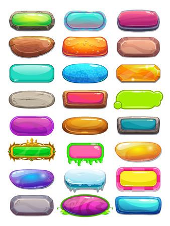 cartoon orange: Big set of cartoon long horizontal buttons, vector gui assets collection for game design