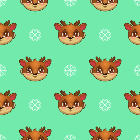 christmas cute: Seamless pattern with funny deer faces and snowflakes, kids vector texture