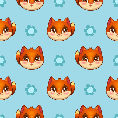 cartoon animal: Seamless pattern with funny fox faces and flowers, kids vector texture Illustration