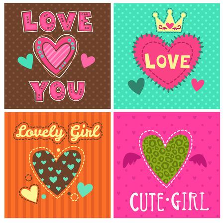 cute angel: Funny girlish prints set, cute girlie illustrations for typography or textile design