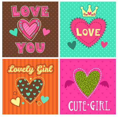 Grappig meisjesachtig afdrukken in te stellen, leuke girlie illustraties voor de typografie en textiel design
