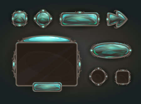banner craft: Cool game user interface vector assets, medieval war GUI concept Illustration