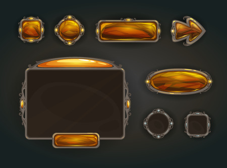 Cool game user interface vector assets, medieval war GUI concept Vettoriali