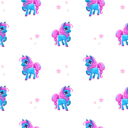 cute animals: Cute seamless pattern with little cartoon blue pony with pink hair and stars on white, vector texture
