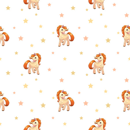 Cute seamless pattern with little cartoon pony and stars on white, vector texture