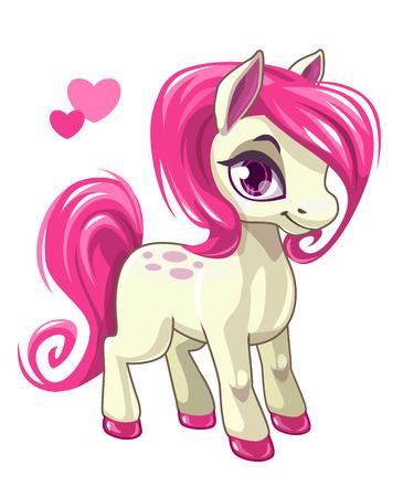 Leuke cartoon weinig wit baby paard met roze haar, mooie pony prinses karakter, vector illustratie geïsoleerd op wit