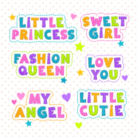 queen of angels: Funny vector kids slogan lettering, templates for textile design Illustration