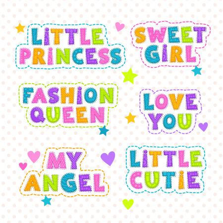 slogan: Funny vector kids slogan lettering, templates for textile design Illustration