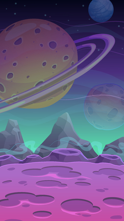 alien landscape: Fantastic alien landscape, vector space illustration, vertical format for mobile phone screen