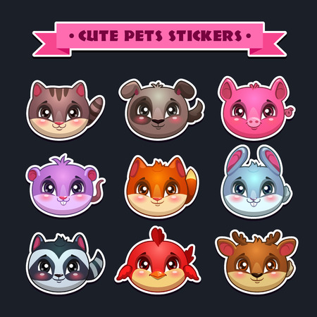 cute dogs: Cute animal faces set, vector zoo stickers collection