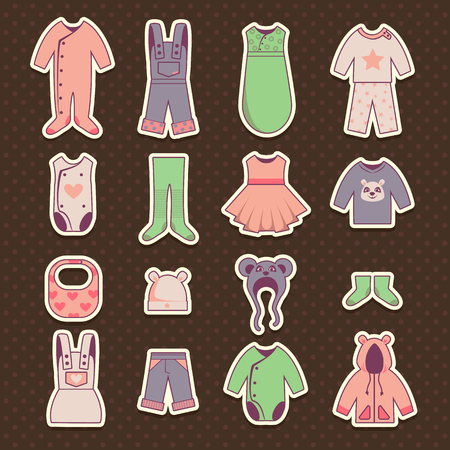 frock coat: Baby cloth icons set, vector kids dress stickers