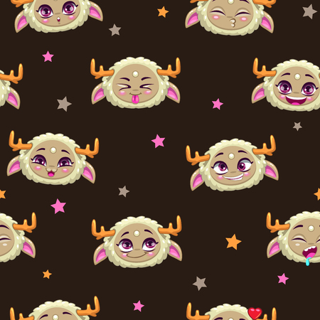 childish: Seamless pattern with funny monster faces, cute childish vector texture