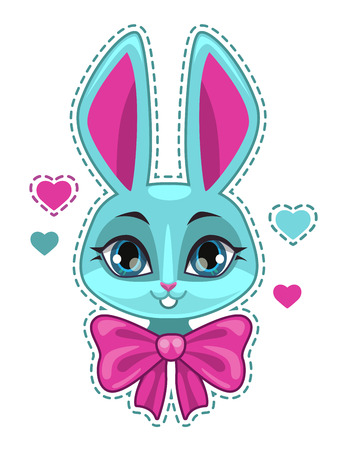 girlish: Cute cartoon bunny girl face with big pink bow, fashion girlish vector illustration for t shirt print design