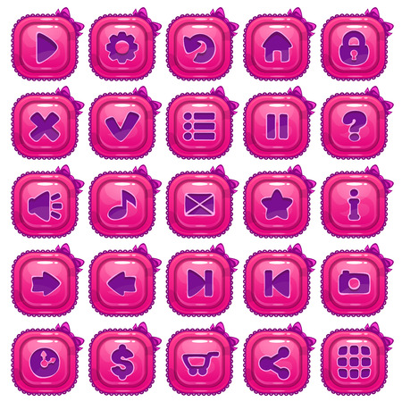 menu buttons: Cute cartoon pink square buttons set, vector menu assets for game or web design