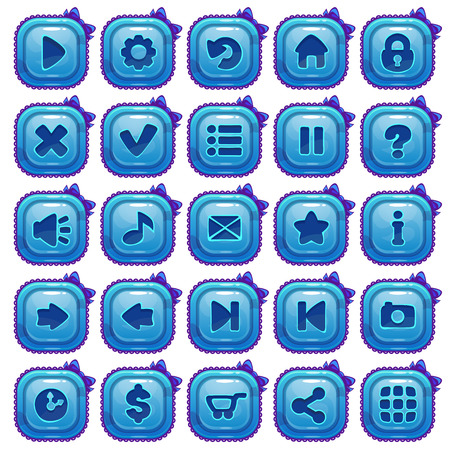 menu buttons: Cute cartoon blue square buttons set, vector menu assets for game or web design