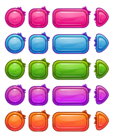 girlie: Cute colorful glossy girlie buttons set, funny vector ui elements for web or game design