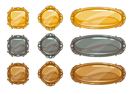 titles: Cartoon vector metallic buttons set, gold, silver and bronze medieval game assets upgrade