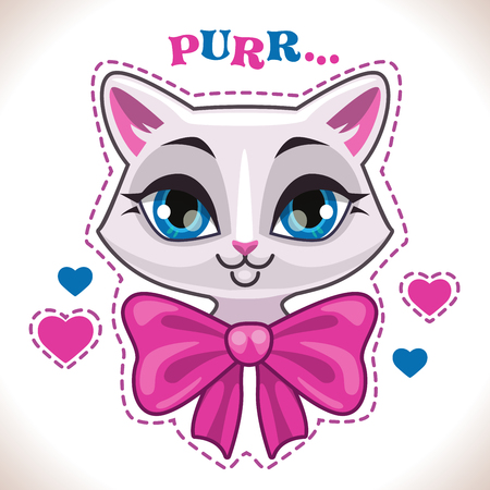 big girls: Cute cartoon white cat girl face with big pink bow, fashion girlish vector illustration for t shirt print design