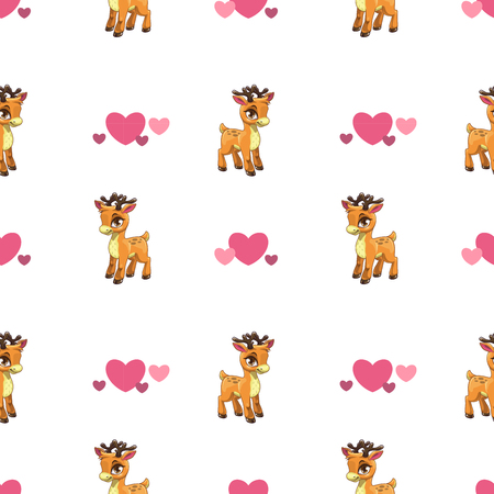 zoo animals: Cute seamless pattern with little cartoon deer and hearts on white, childish vector texture
