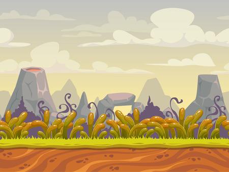 buisson: Fantastique nature transparente paysage, vecteur de fond pour la conception du jeu, des couches séparées pour un effet de parallaxe