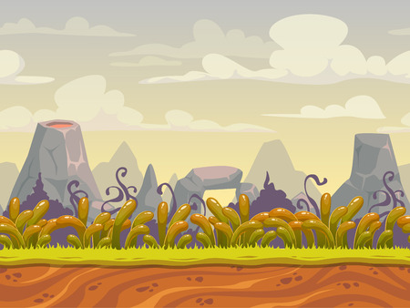 volcano mountain: Fantasy seamless nature landscape, vector background for game design, separated layers for parallax effect