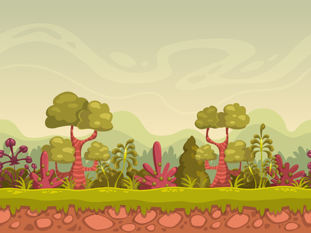 Cartoon seamless nature landscape, vector background for game design, separated layers for parallax effect Illustration