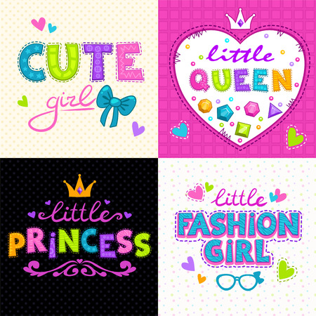 Cool girlie t shirt print set, vector girlish backgrounds