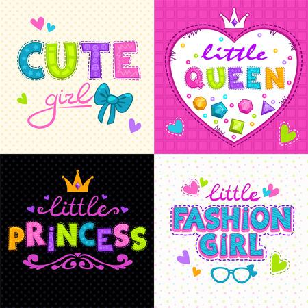 Cool girlie t shirt print set, vector girlish backgrounds