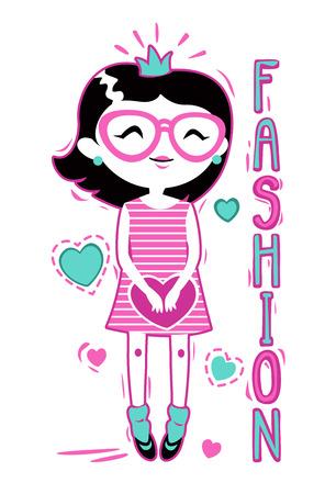 t shirt print: Cute fashion girlish illustration, vector template for t shirt print design