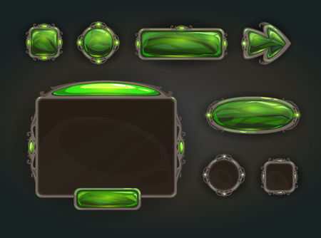 gui: Cool game user interface vector assets, medieval war GUI concept Illustration