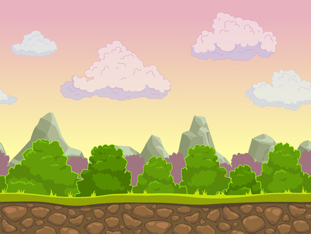Cartoon seamless nature landscape, vector background for game design, separated layers for parallax effect Vettoriali