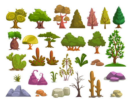 cartoon summer: Cartoon nature landscape elements set, trees, stones and grass clip art, isolated on white