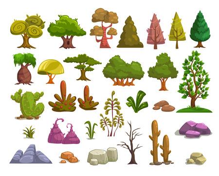 Cartoon natuur landschap elementen set, bomen, stenen en gras illustraties, geïsoleerd op wit