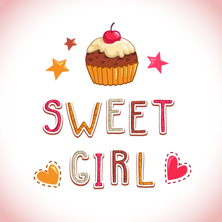 t shirt design: Sweet girl illustration, cute vector t shirt design template with cupcake, stars and hearts