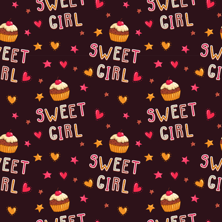 girlish: Cute seamless pattern with cupcakes and sweet girl text, girlish vector texture