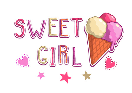 t shirt design: Sweet girl illustration, cute vector t shirt design template with ice cream, stars and hearts on white