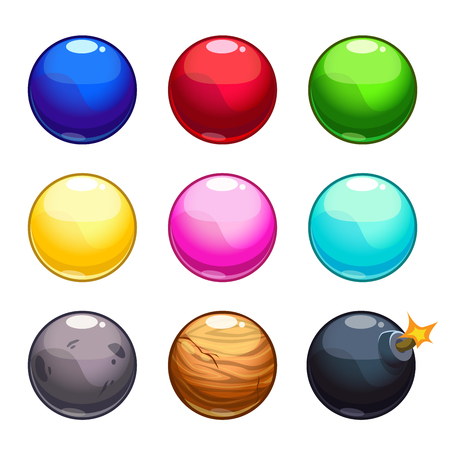 bowl game: Cartoon colorful bubbles balls set, vector game assets isolated on white