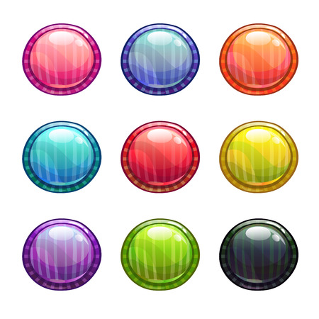 red and blue: Colorful round buttons set, vector game assets isolated on white
