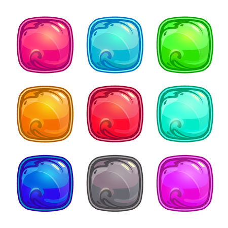 square buttons: Colorful square buttons set, vector game assets isolated on white