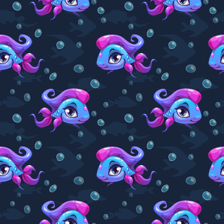 cute animals: Seamless pattern with cute cartoon girl fish, vector kids texture Illustration