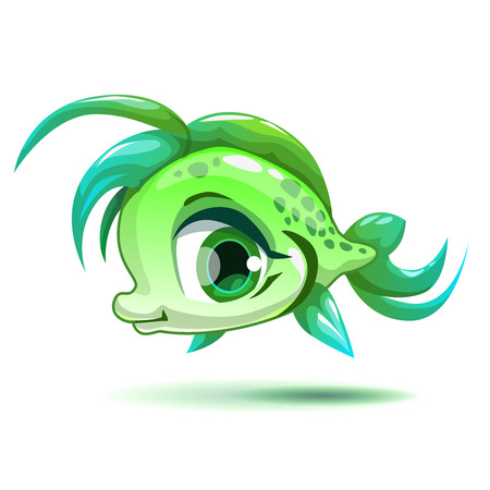 girlish: Cute cartoon little green girl fish character, isolated on white, beautiful vector girlish illustration