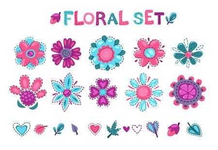 girlie: Cute floral elements set, textile decor design elements om white background Illustration