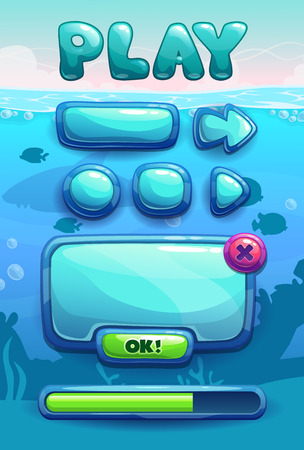 gui: Cute cartoon game assets set, blue glossy buttons, panel and progress bar for GUI design