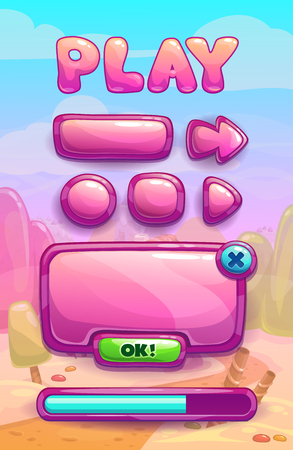 menu land: Cute cartoon game assets set, glossy buttons, panel and progress bar for GUI design on sweet landscape background Illustration
