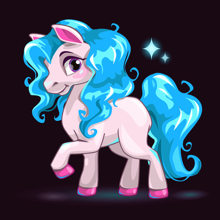 Little cute white cartoon horse with blue hair on dark background, girlish vector illustration